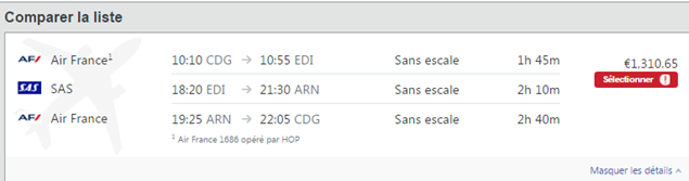 Prix billet d'avion Concur